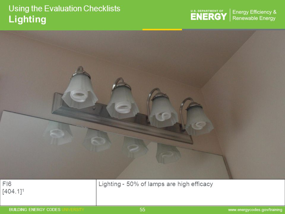 Lighting Using the Evaluation Checklists FI6 [404.1]1